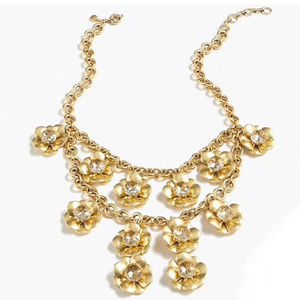 🔥JCrew GoldCrystalFlowerLayered Stmt Necklace